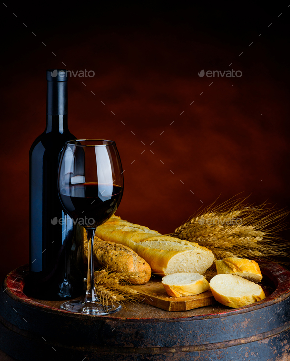 Red Wine and Baguette - Stock Photo - Images