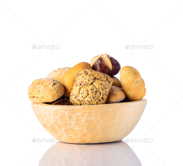 Bun in Wooden Bowl - Stock Photo - Images