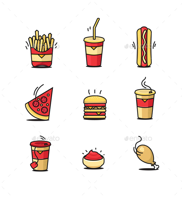 Fastfood Icons Set - Food Objects