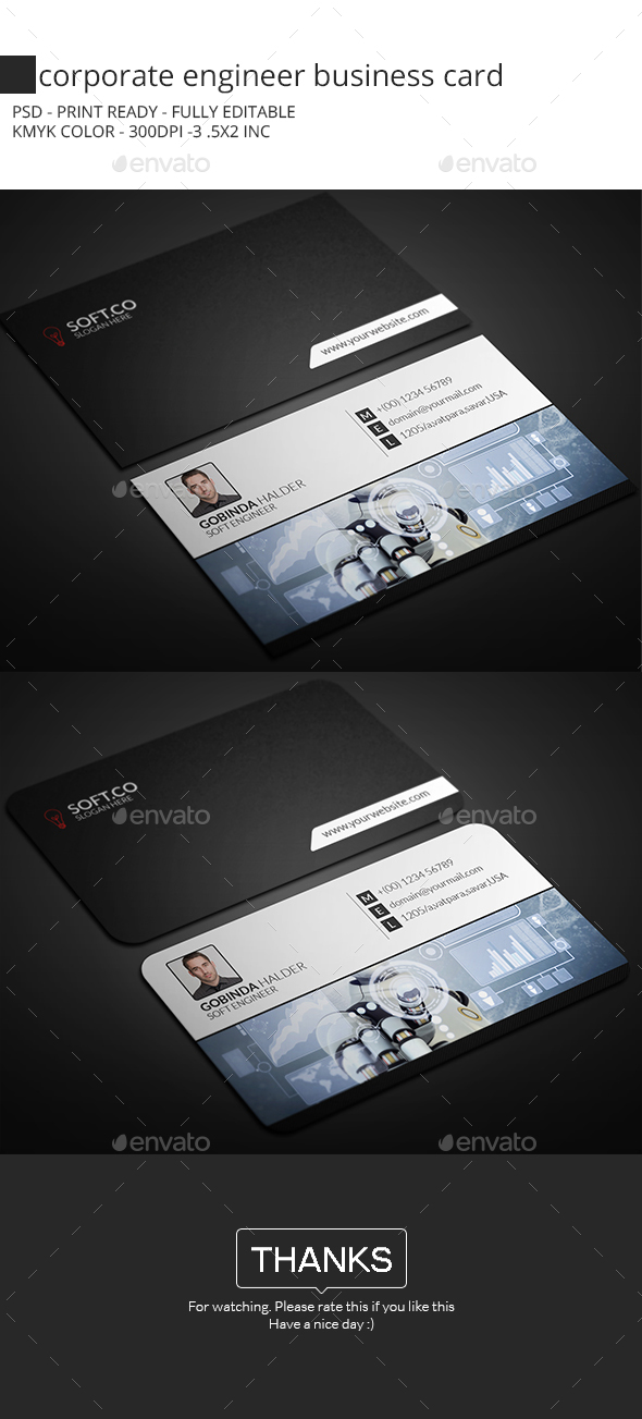 Corporate Engineer Business Card - Corporate Business Cards