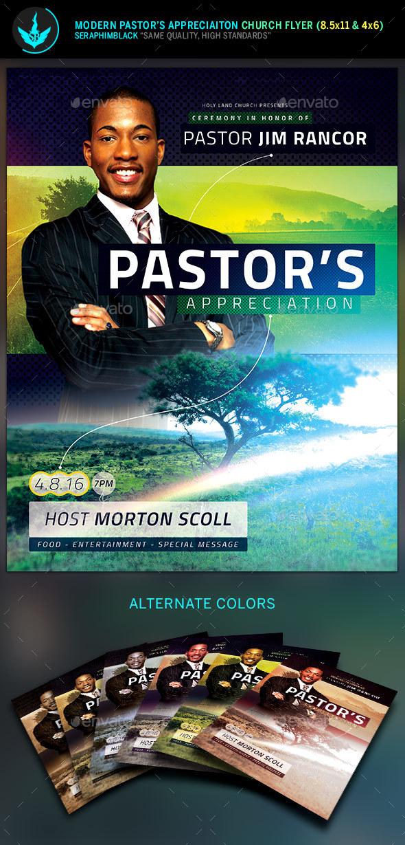Modern Pastor's Appreciation Flyer Template - Church Flyers