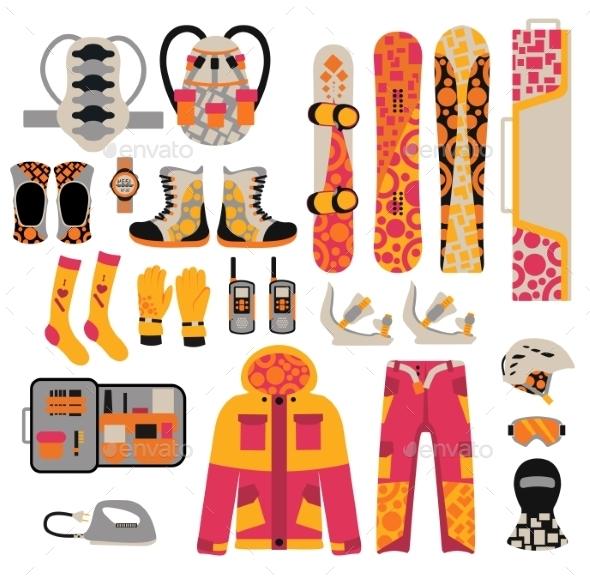 Snowboard Sport Clothes And Tools Elements - Sports/Activity Conceptual
