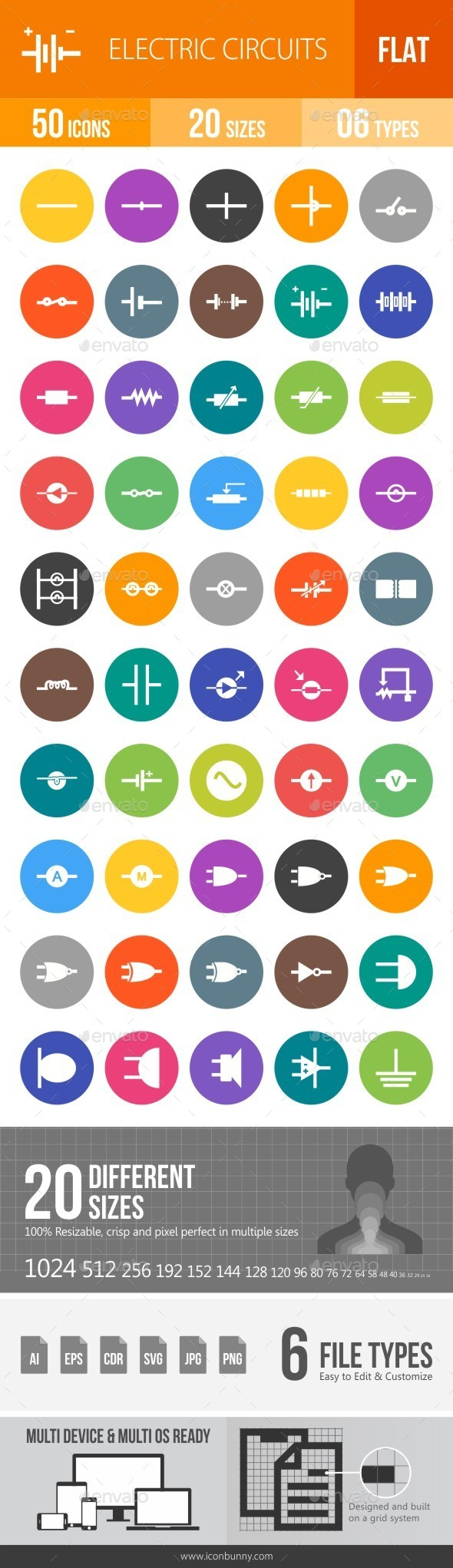 Electric Circuits Flat Round Icons - Icons