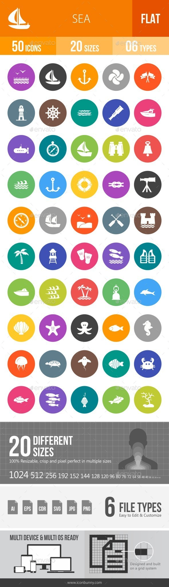 Sea Flat Round Icons - Icons