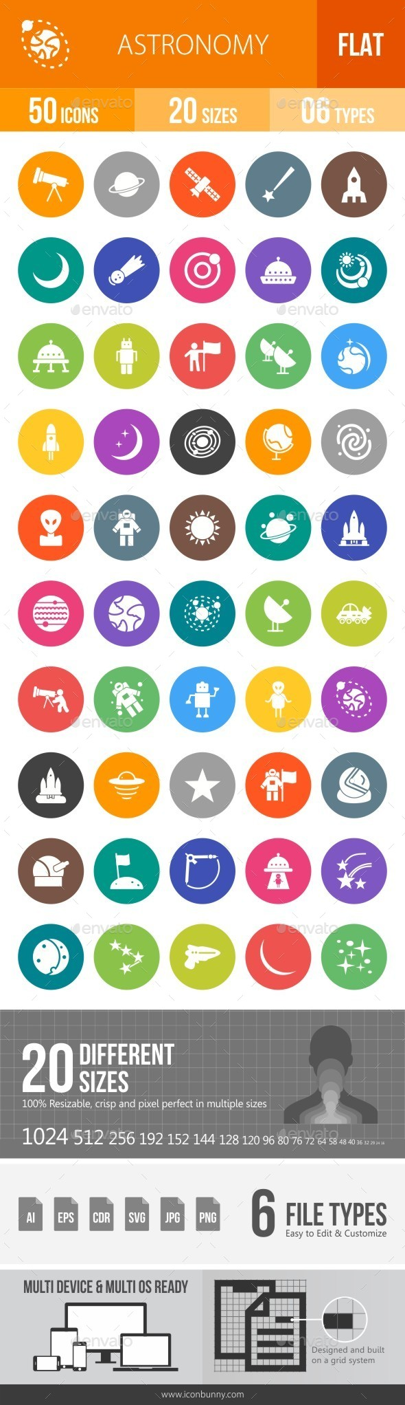 Astronomy Flat Round Icons - Icons