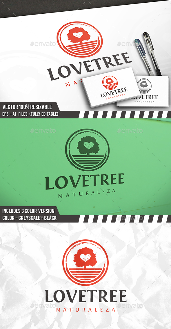 Tree Love Logo - Nature Logo Templates