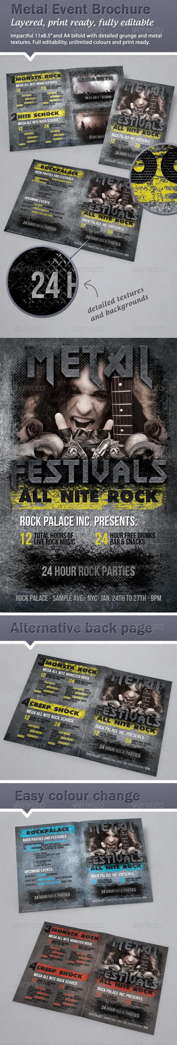 Heavy metal / rock event Brochure - 11x8.5 & A4 - Informational Brochures