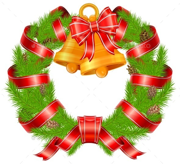 Christmas Pine Wreath with Bells - Concepts Business