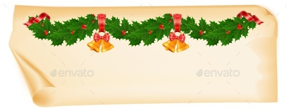Christmas Garland on Old Paper - Concepts Business