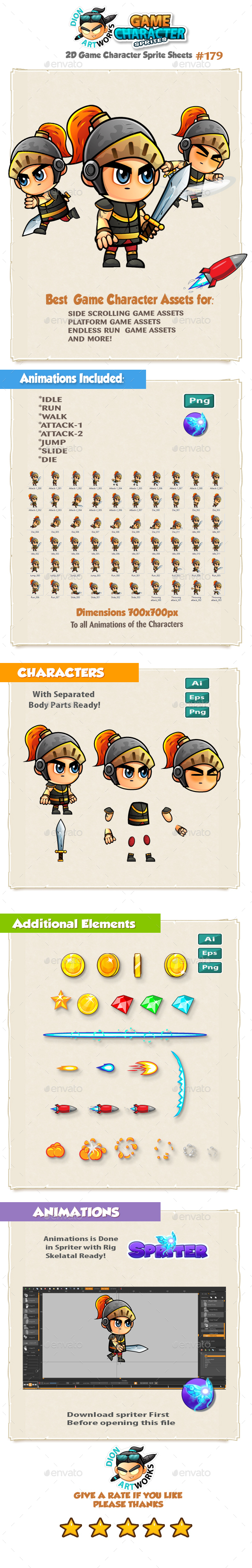 The Knight 2D Game Character Sprites 179 - Sprites Game Assets