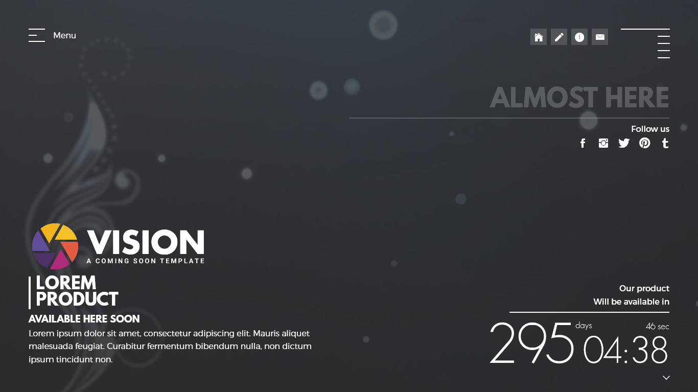 Vision Creative Template For Coming Soon Page