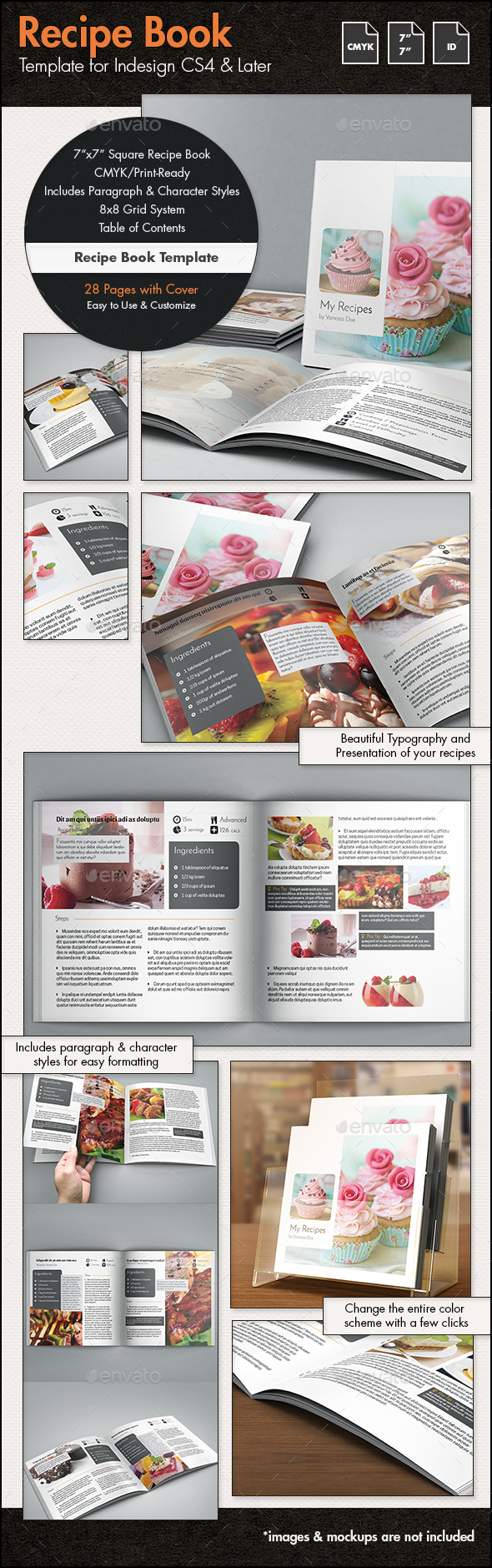 Recipe book template 7x7in by sthalassinos graphicriver for Indesign templates for books