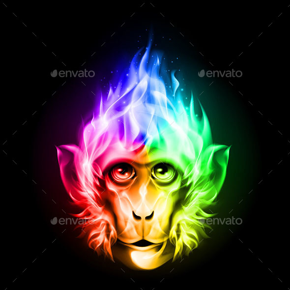Monkey Fire Head - Animals Characters