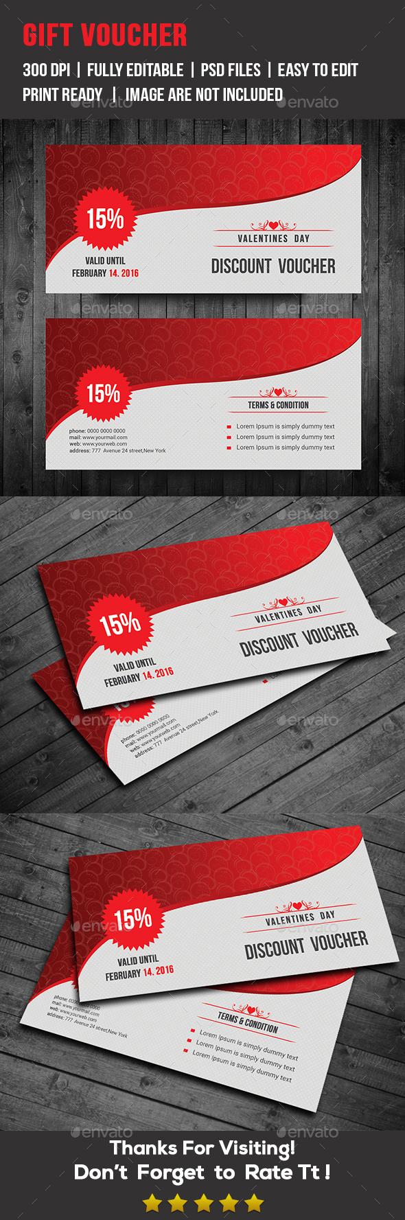 Valentine Discount Voucher - Cards & Invites Print Templates