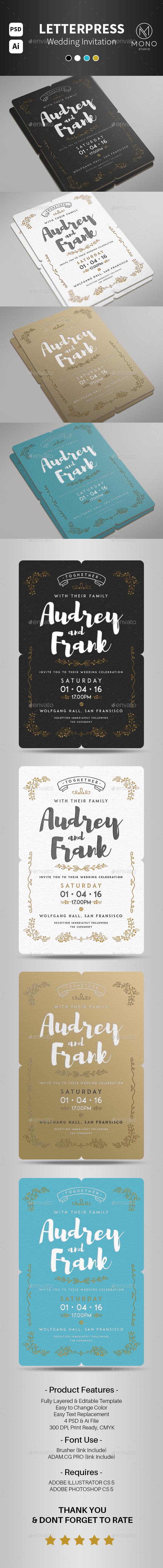 Letterpress Wedding Invitation Set 2 - Invitations Cards & Invites