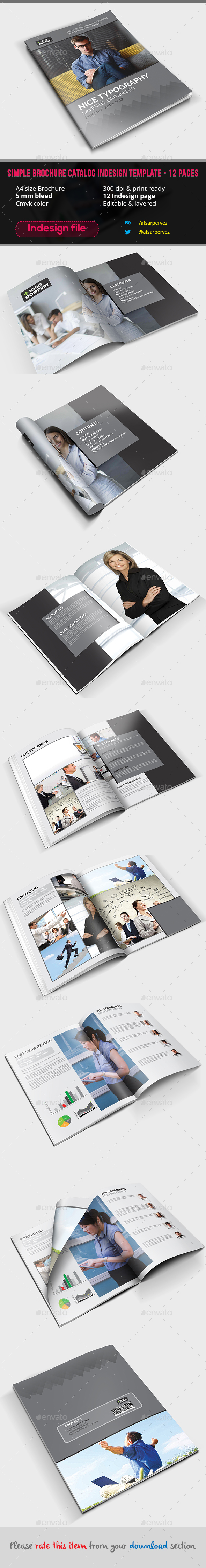 Simple Brochure Catalog Indesign Template – 12 Pages - Corporate Brochures