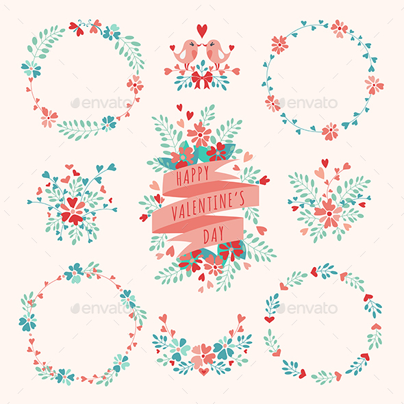 Set of Valentine's Day Floral Elements.  - Valentines Seasons/Holidays
