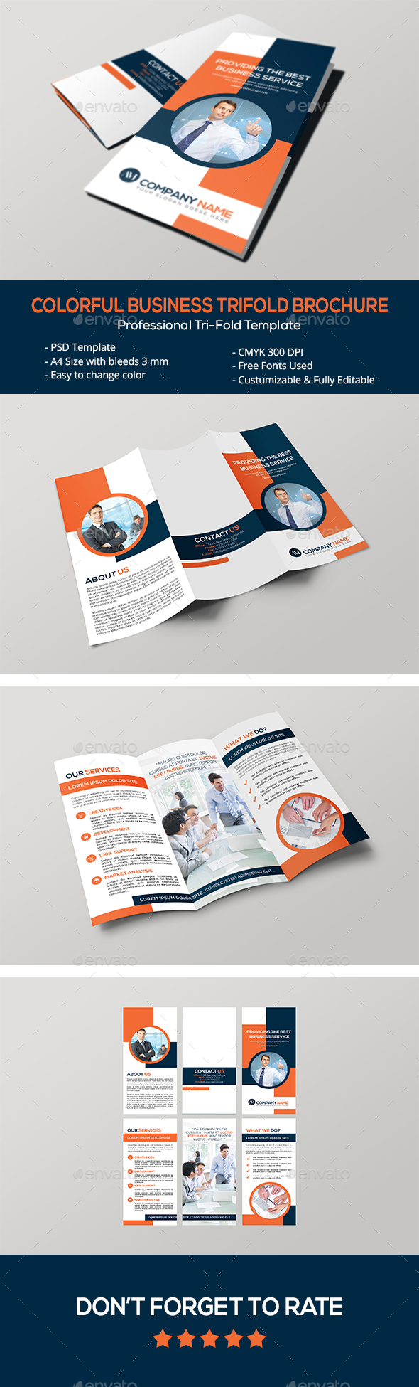 Colorful Business Trifold Brochure - Corporate Brochures