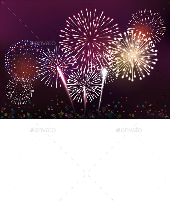 Realistic Fireworks Background  - Seasons/Holidays Conceptual