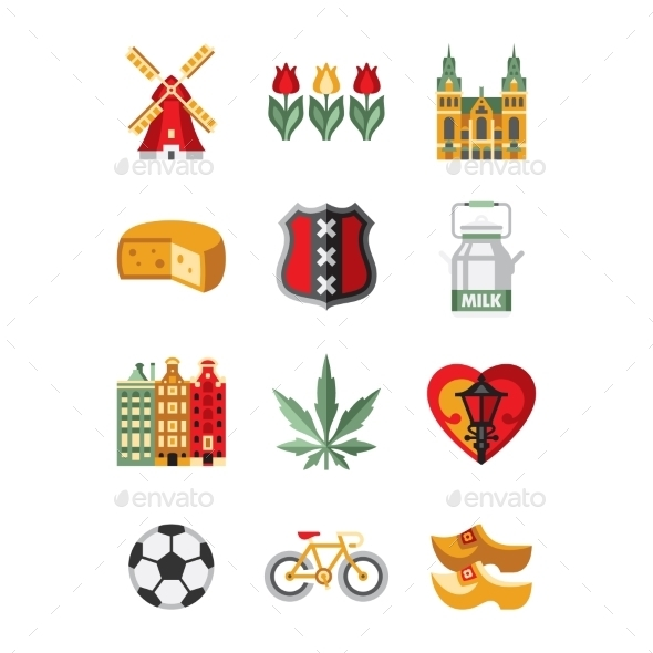 Netherlands Symbols And Landmarks Vector - Travel Conceptual