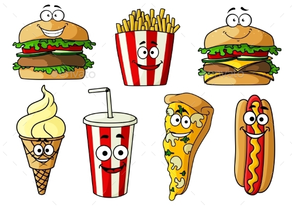 Fast Food Isolated Cartoon Characters - Food Objects