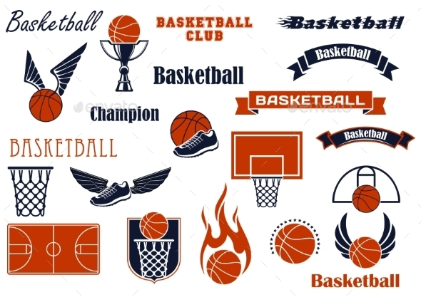 Basketball Sport Game And Design Elements - Sports/Activity Conceptual
