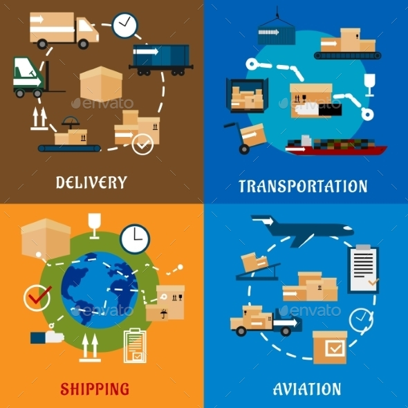 International Delivery And Logistic Flat Icons - Concepts Business