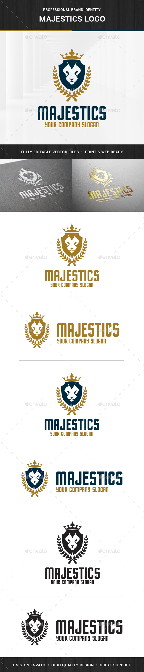 Majestics - Lion Crest Logo - Animals Logo Templates