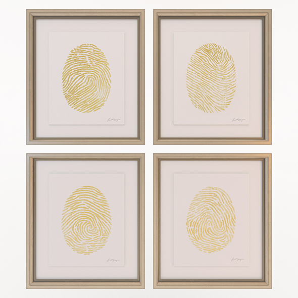 Charlotte Morgan Hand Painted Gold Fingerprints - 3DOcean Item for Sale