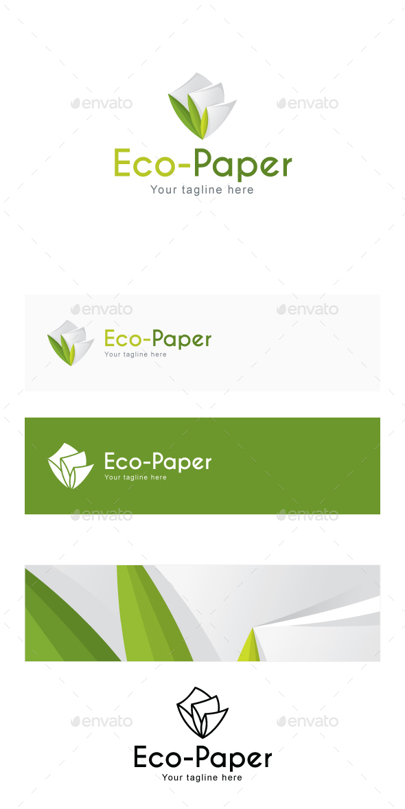 Eco Paper - Recyclable Stationary Products Stock Logo Template for Manufacturing & Green Projects - Abstract Logo Templates