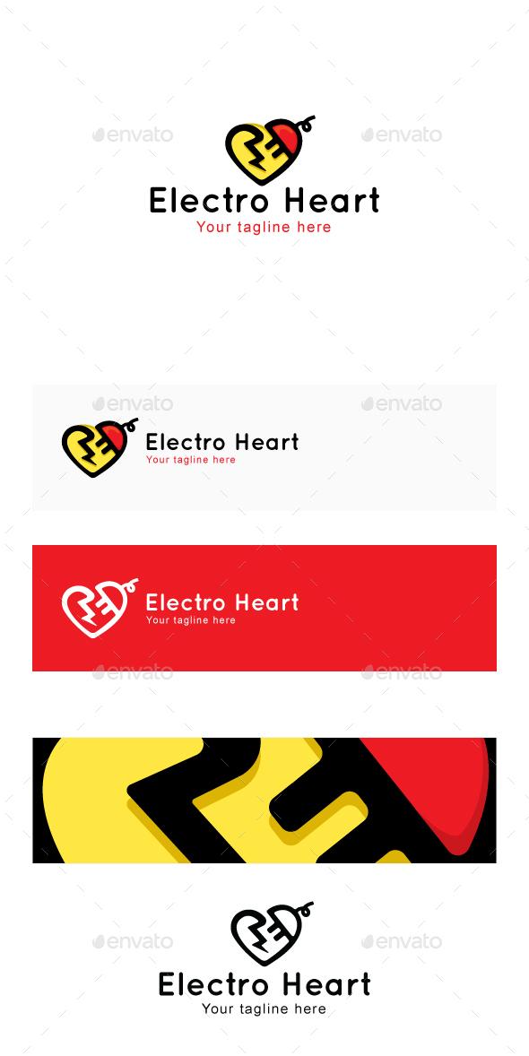 Electro Heart - Plug & Spark Iconic Stock Logo Template - Abstract Logo Templates