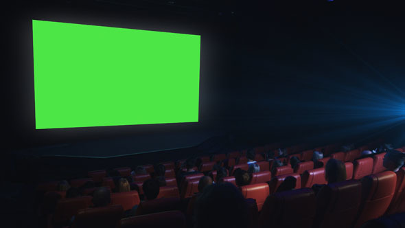 People Are Watching A Green Screen Mock Up Screening In A Movie Theatre By Gorodenkoffs