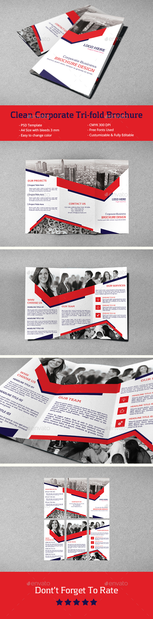 Clean Corporate Tri-Fold Brochure - Corporate Brochures