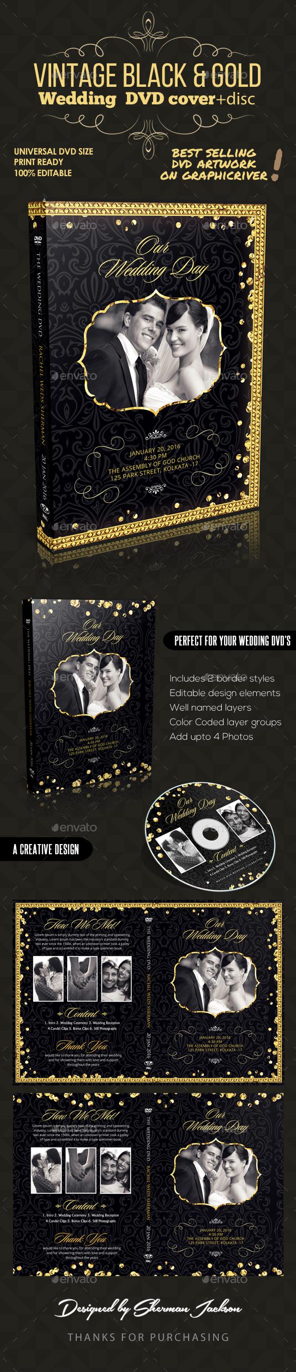 Vintage Black & Gold Wedding DVD Template - CD & DVD Artwork Print Templates