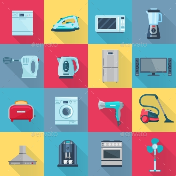 Flat Color Household Appliances Icons - Man-made objects Objects