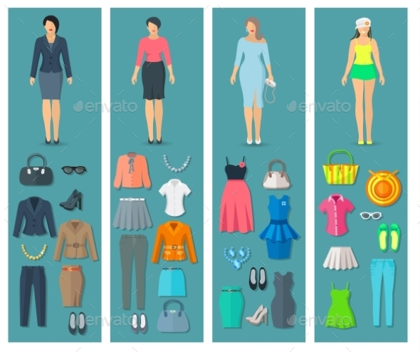 Vertical Banners Set Of Woman Clothes  Flat Icons - Commercial / Shopping Conceptual