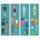 Vertical Banners Set Of Woman Clothes  Flat Icons