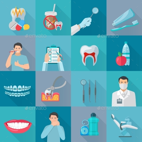 Flat Color Shadow Dental Icons - Web Icons
