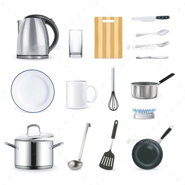Realistic Kitchen Utensils - Decorative Symbols Decorative