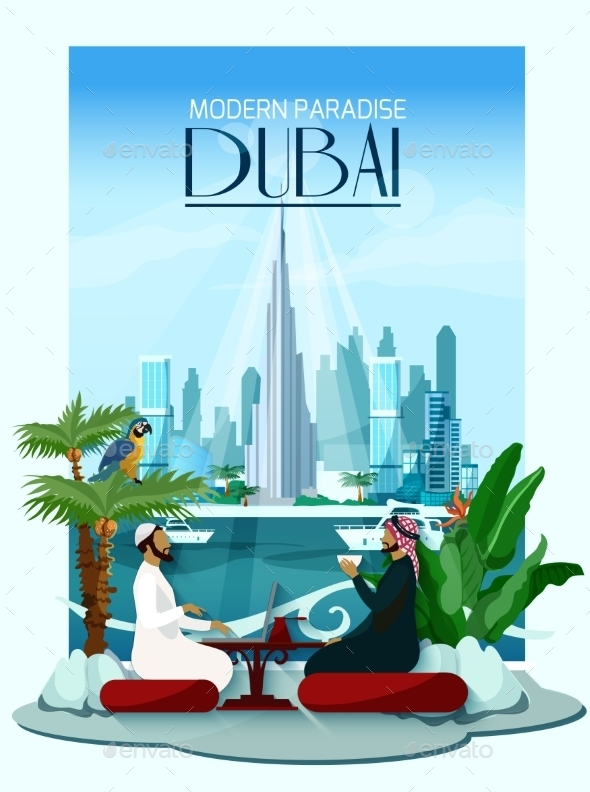 Dubai City Poster With Burj Khalifa - Backgrounds Decorative