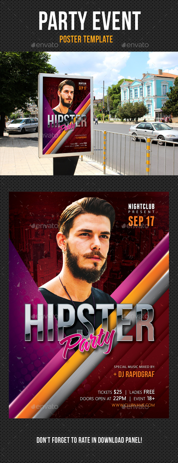Hipster Party Poster - Signage Print Templates