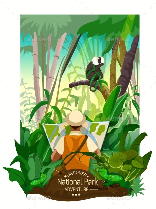 Colorful Tropical Forest Landscape Poster  - Travel Conceptual