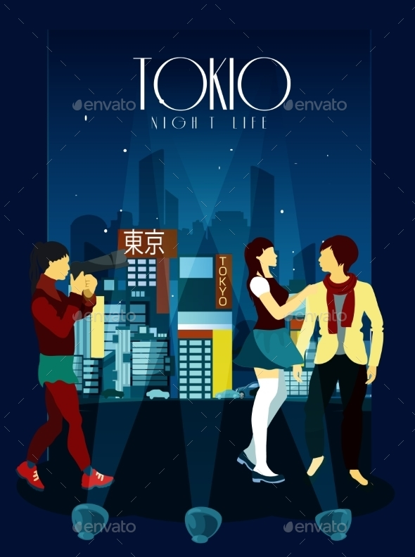 Tokyo Night Life Poster - Backgrounds Decorative