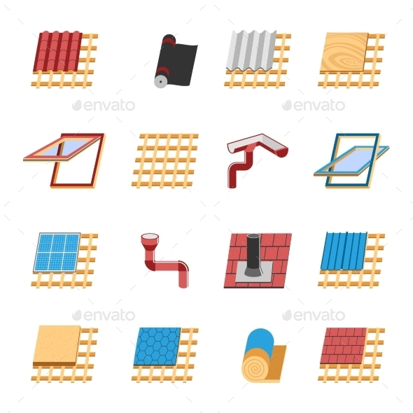 Roof Construction Elements Flat Icons Set - Buildings Objects