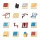 Roof Construction Elements Flat Icons Set