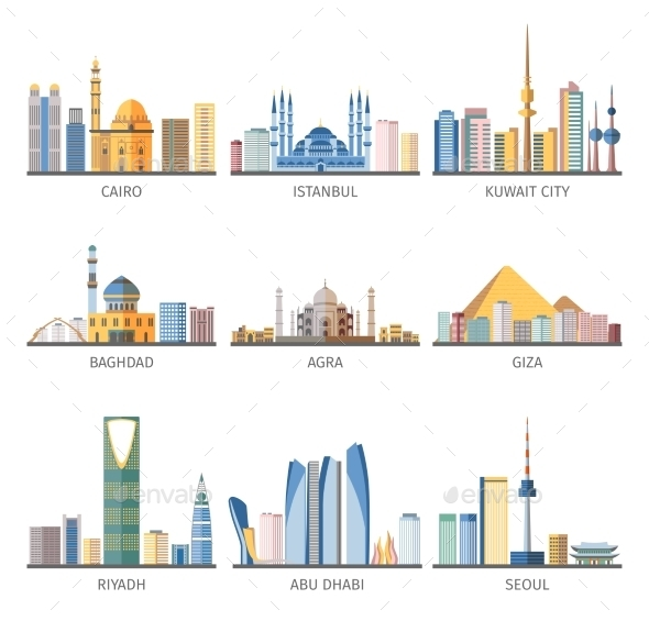 Eastern Cityscapes Landmarks Flat Icons Collection - Buildings Objects