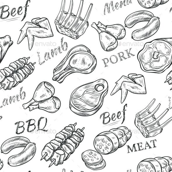 Meat Sketch Seamless Pattern  - Food Objects