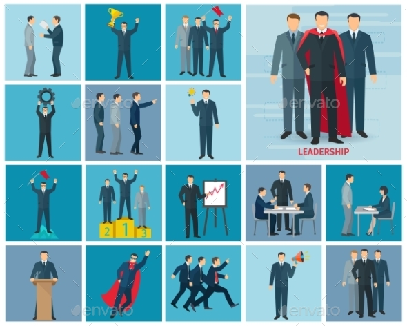 Leadership And Success Icons Set - Concepts Business