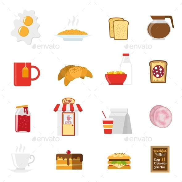 Breakfast Icons Set  - Food Objects