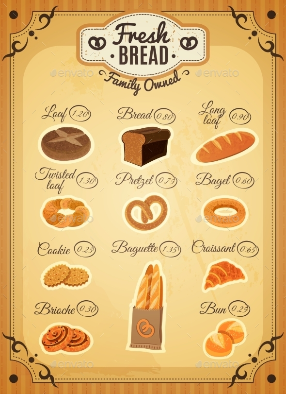 Vintage Style Bakery Price List Poster  - Food Objects